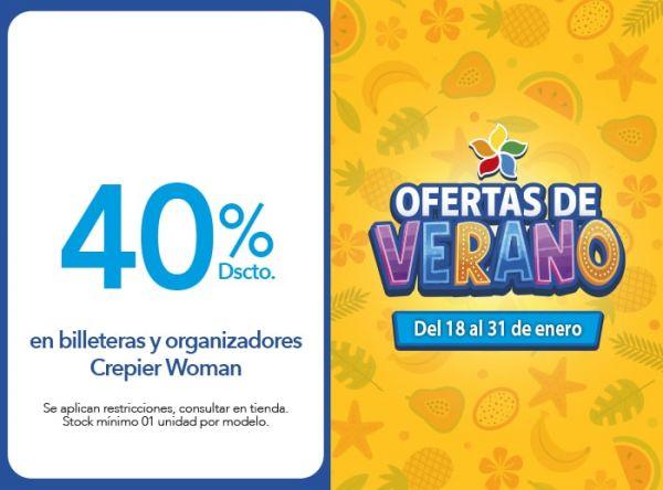 40% Dscto. en billeteras y organizadores Crepier Woman Crepier  - Mall del Sur