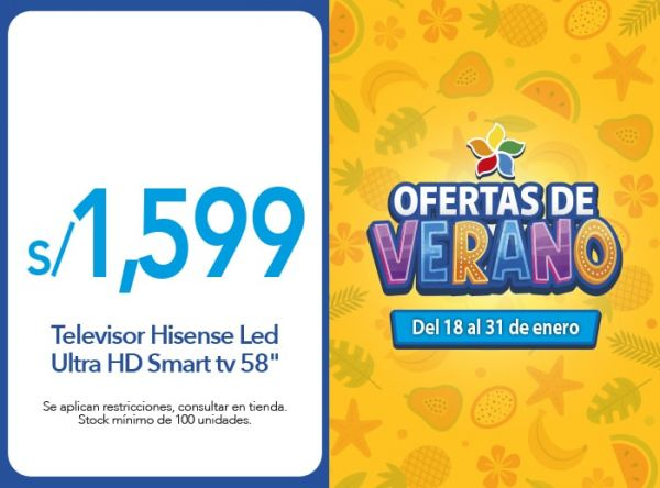 "Televisor Hisense Led Ultra HD Smart tv 58"" a S/ 1,599.00 EFE - Mall del Sur"