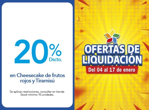 20% DSCTO. EN CHEESECAKE DE FRUTOS ROJOS Y TIRAMISÚ PANISTERIA - Mall del Sur