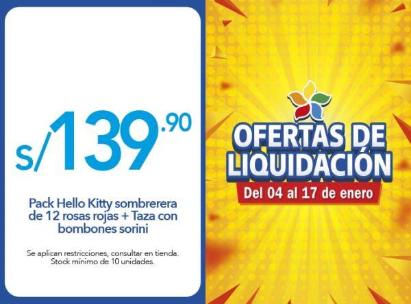 PACK HELLO KITTY SOMBRERERA DE 12 ROSAS ROJAS + TAZA CON BOMBONES SORINI A S/ 139.90 Rosatel - Mall del Sur