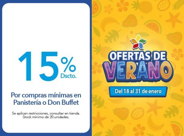 15% Dscto. en Mediterráneo .Por compras mínimas en Panistería o Don Buffet Mediterraneo - Mall del Sur