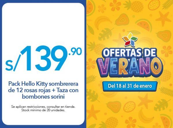 Pack Hello Kitty sombrerera de 12 rosas rojas + Taza con bombones sorini S/ 139.90 Rosatel - Mall del Sur