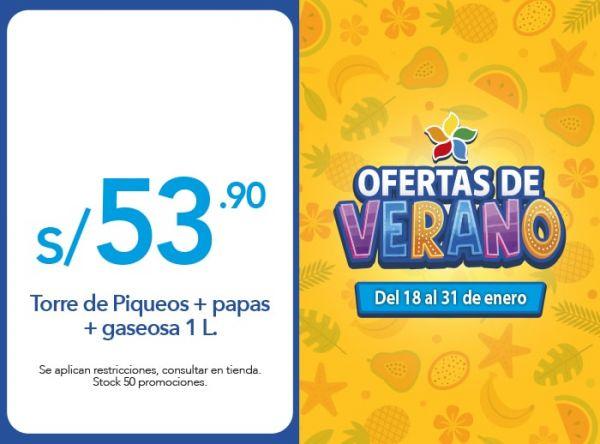 Torre de Piqueos + papas + gaseosa 1 L. a S/. 53.90 RUSTICA - Mall del Sur