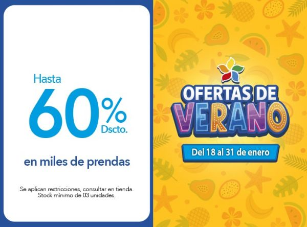 Hasta 60% Dscto. en miles de prendas - TOPI TOP - Mall del Sur