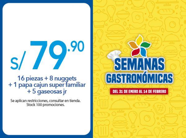 16 PIEZAS + 8 NUGGETS + 1 PAPA CAJUN SUPER FAMILIAR + 5 GASEOSAS JR A S/.79.90 - Plaza Norte