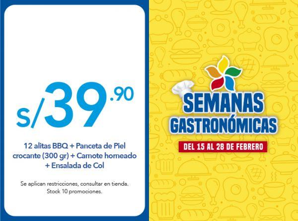 12 ALITAS BBQ + PANCETA DE PIEL CROCANTE (300 GR) + CAMOTE HORNEADO + ENSALADA DE COL A S/39.90 - Plaza Norte