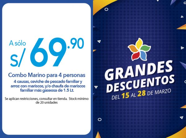 COMBO MARINO PARA 4 PERSONAS A SOLO 69.90  - Plaza Norte