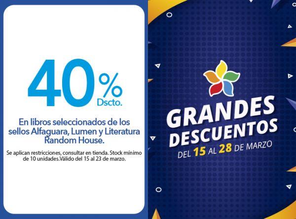 40% DSCTO EN LLIBROS SELECCIONADOS DE LOS SELLOS ALFAGUARA,LUMEN Y LITERATURA RANDOM HOUSE - Plaza Norte