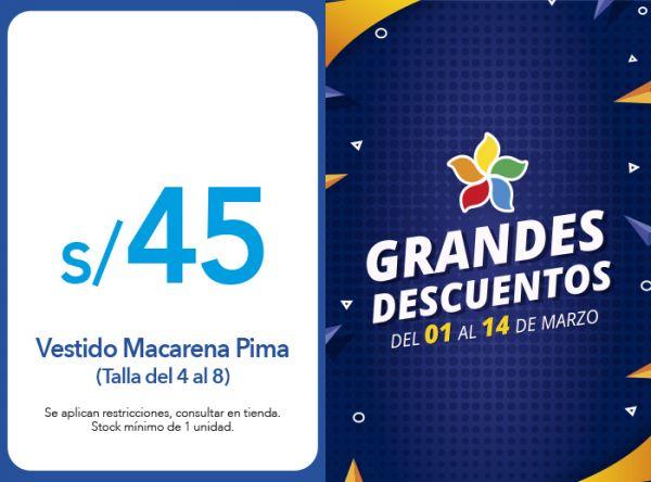 VESTIDO MACARENA PIMA TALLA DEL 4 AL 8 S/ 45.00 Cicibet - Mall del Sur