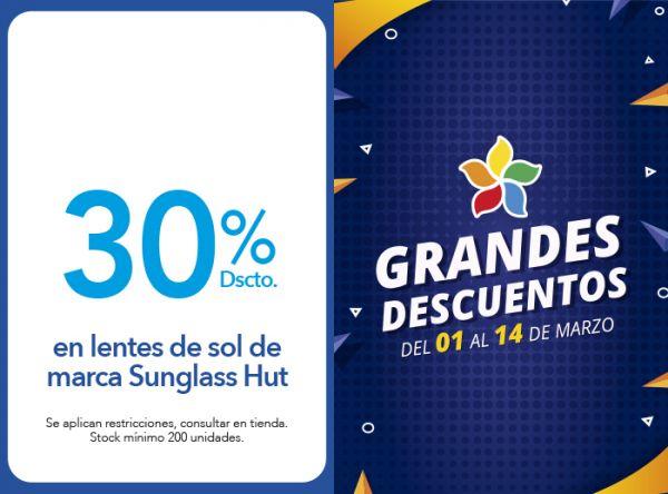 30% DSCTO. EN LENTES DE SOL DE MARCA SUNGLASS HUT Econópticas - Mall del Sur