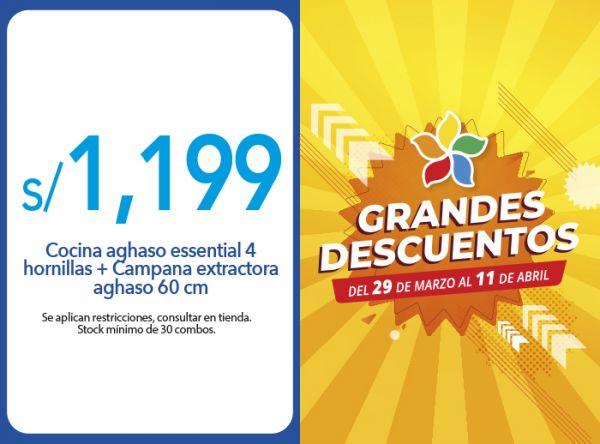 COCINA AGHASO ESSENTIAL 4 HORNILLAS + CAMPANA EXTRACTORA AGHASO 60 CM A S/ 1,199 - Plaza Norte