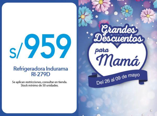 REFRIGERADORA INDURAMA / RI-279D A S/ 959.00 EFE - Mall del Sur
