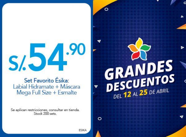 SET FAVORITO ÉSIKA: LABIAL HIDRAMATE + MÁSCARA MEGA FULL SIZE + ESMALTE A S/54.90 - Plaza Norte