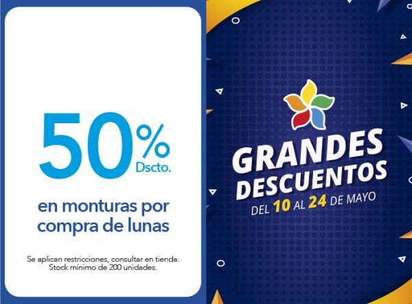 50% DSCTO. EN MONTURAS POR COMPRA DE LUNAS  Econolentes By Grand Vision - Mall del Sur