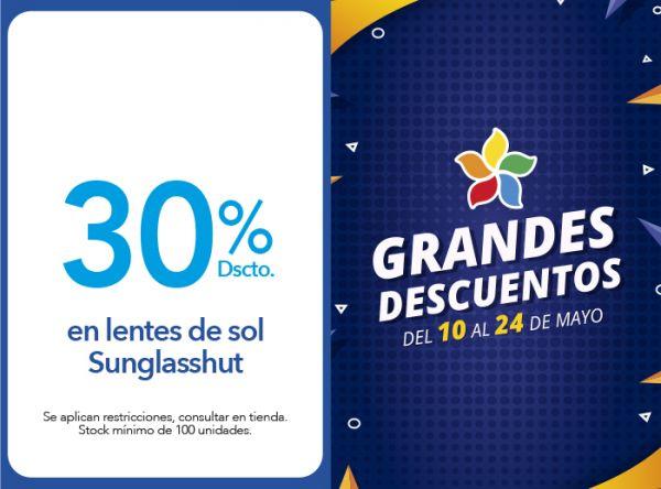 30% DSCTO. EN LENTES DE SOL SUNGLASSHUT  GMO - Mall del Sur