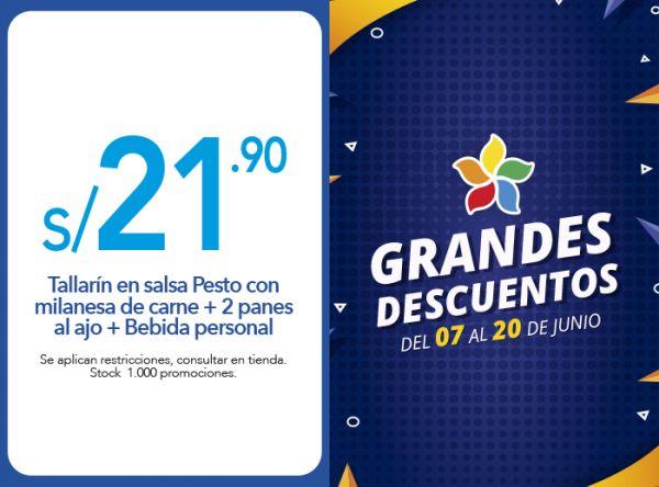TALLARÍN EN SALSA PESTO CON MILANESA DE CARNE + 2 PANES AL AJO + BEBIDA PERSONAL A S/ 21.90 - Plaza Norte