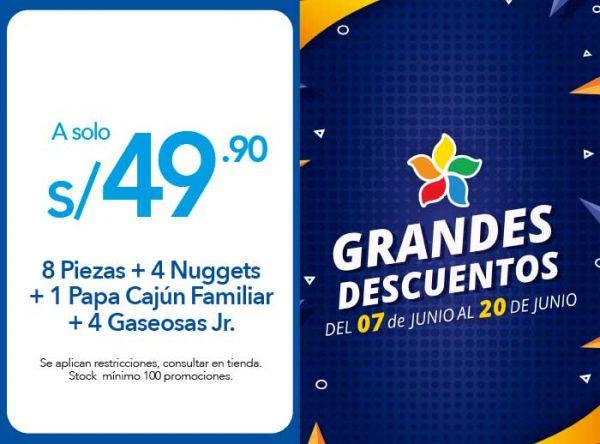 8 PIEZAS + 4 NUGGETS + 1 PAPA CAJÚN FAMILIAR + 4 GASEOSAS JR. A S/ 49.90 - Plaza Norte