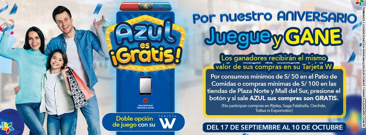 """Promoción """"Azul es Gratis""""- Aniversario - Mall del Sur"""