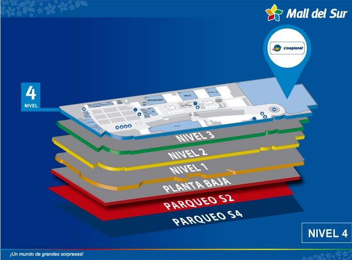cineplanet - Mapa de Ubicación - Mall del Sur