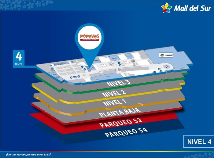 Popeyes - Mapa de Ubicación - Mall del Sur