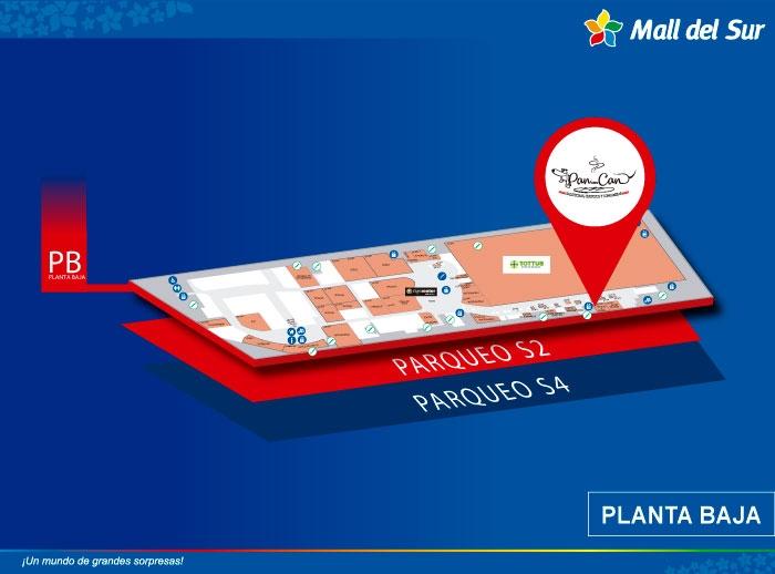 Pan con Can - Mapa de Ubicación - Mall del Sur