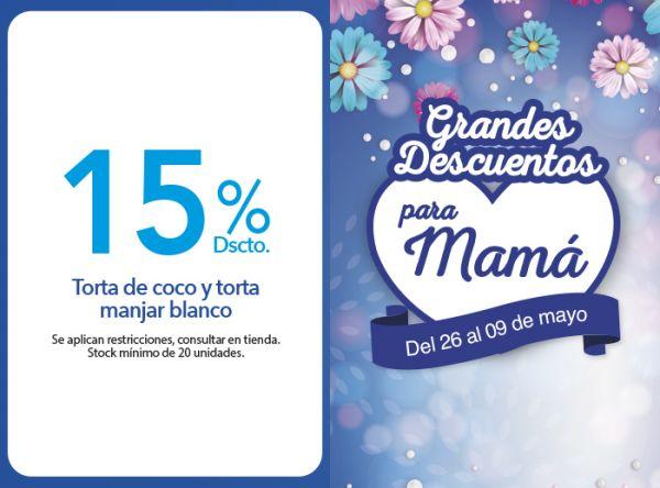 15% DSCTO.TORTA DE COCO Y TORTA MANJAR BLANCO - Plaza Norte