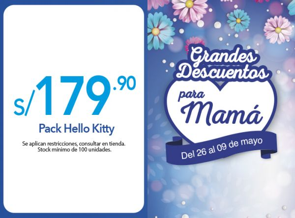 PACK HELLO KITTY A S/ 179.90 Rosatel - Mall del Sur