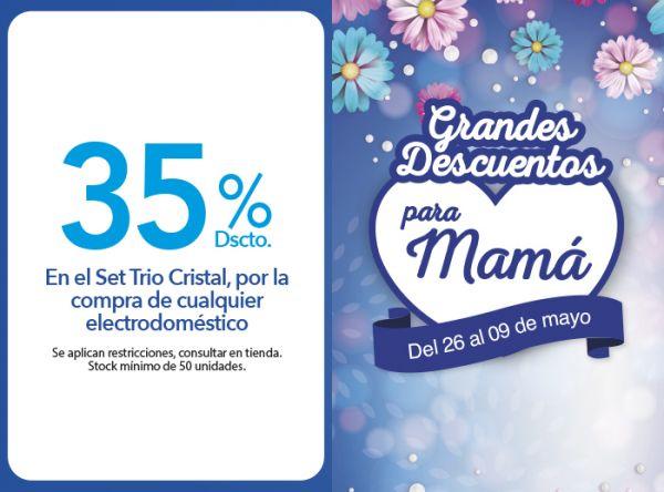 POR LA COMPRA DE CUALQUIER ELECTRODOMÉSTICO  RECIBE 35% DE DESCUENTO EN EL SET TRIO CRISTAL. - Plaza Norte