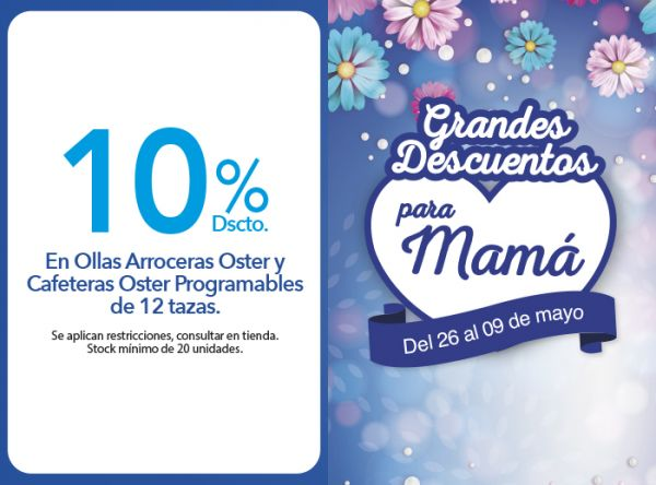 10% DSCTO. EN OLLAS ARROCERAS OSTER Y CAFETERAS OSTER PROGRAMABLES DE 12 TAZAS. - Plaza Norte