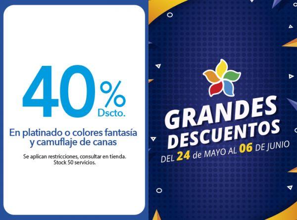 40% DSCTO. EN PLATINADO O COLORES FANTASÍA Y CAMUFLAJE DE CANAS - Plaza Norte