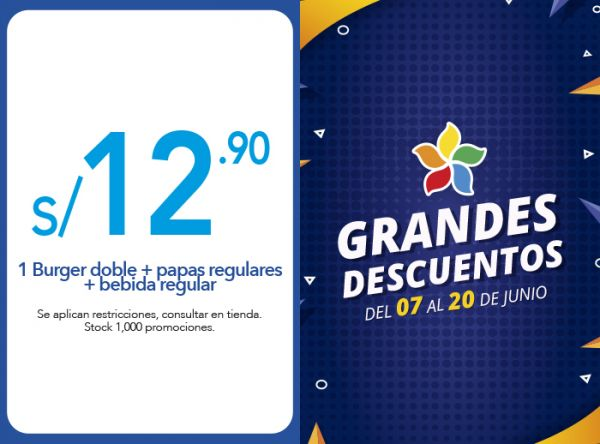 1 BURGER DOBLE + PAPAS REGULARES + BEBIDA REGULAR A S/ 12.90 - Plaza Norte