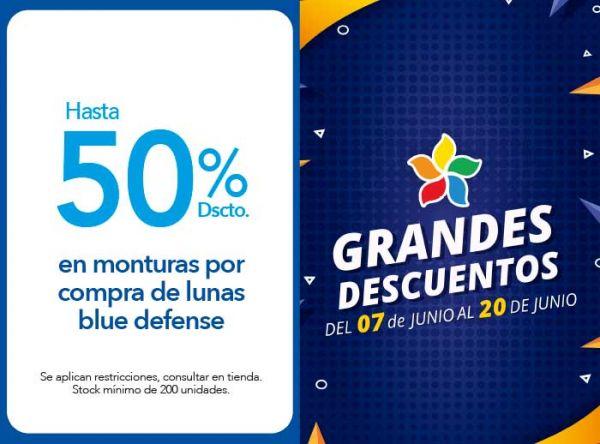 HASTA 50% DSCTO. EN MONTURAS POR COMPRA DE LUNAS BLUE DEFENSE - Plaza Norte